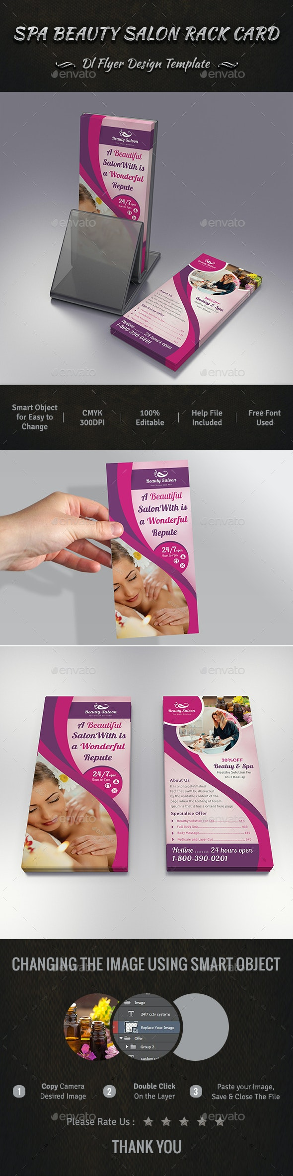 Spa Beauty Salon Rack Card DL Flyer Design - Commerce Flyers