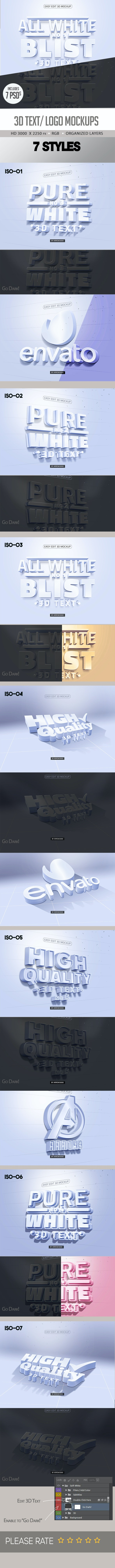 Pure White 3D Text/ Logo Mock up - Text Effects Actions