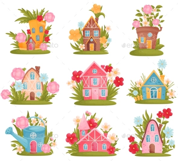 Set of Fabulous Houses Among the Flowers and Grass - Flowers & Plants Nature