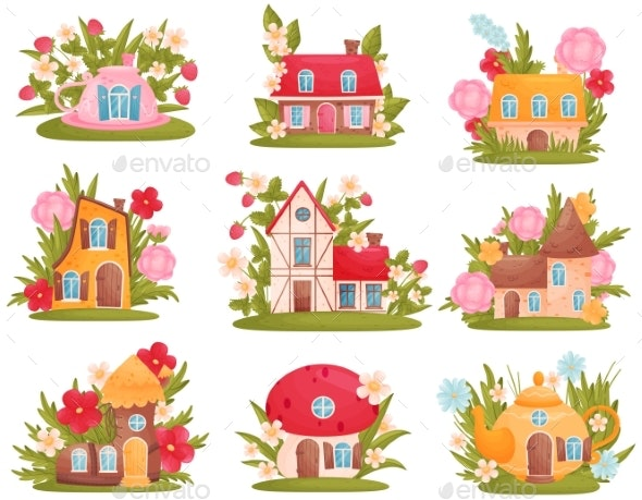 Set of Fabulous Houses of Different Shapes - Flowers & Plants Nature