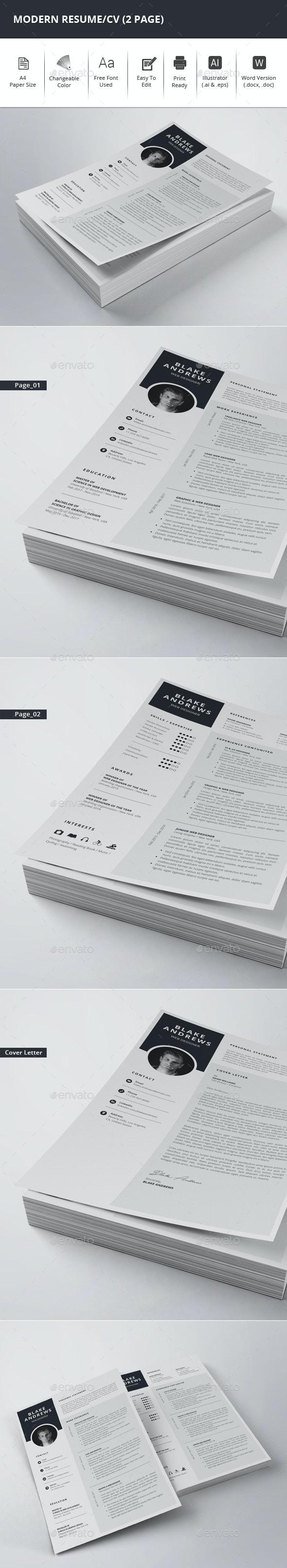 Modern Resume/CV (2 Page) - Resumes Stationery