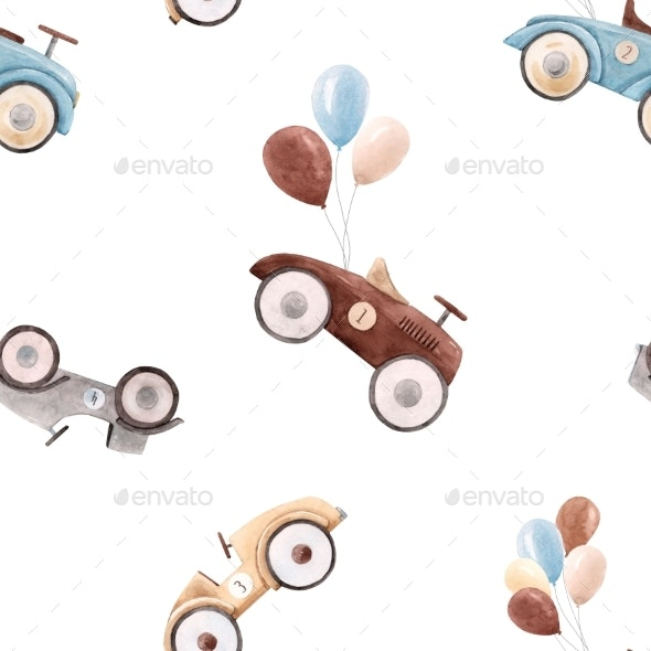 Watercolor Baby Car Pattern - Miscellaneous Illustrations