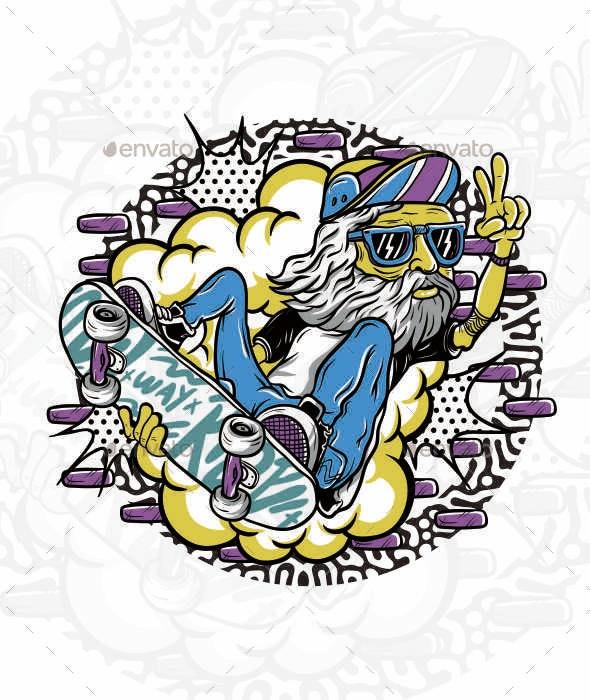Skateboarding Oldman Illustration - Characters Vectors