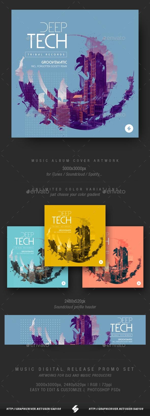 Deep Tech - Electronic Music Album Cover Artwork Template - Miscellaneous Social Media