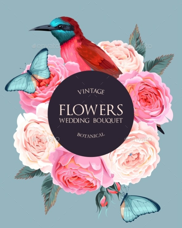 Vector Vintage Card with Flowers and Bird - Miscellaneous Vectors