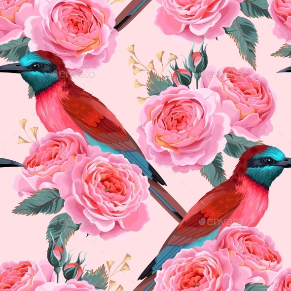 Vector Seamless Pattern with Birds and Roses - Flowers & Plants Nature