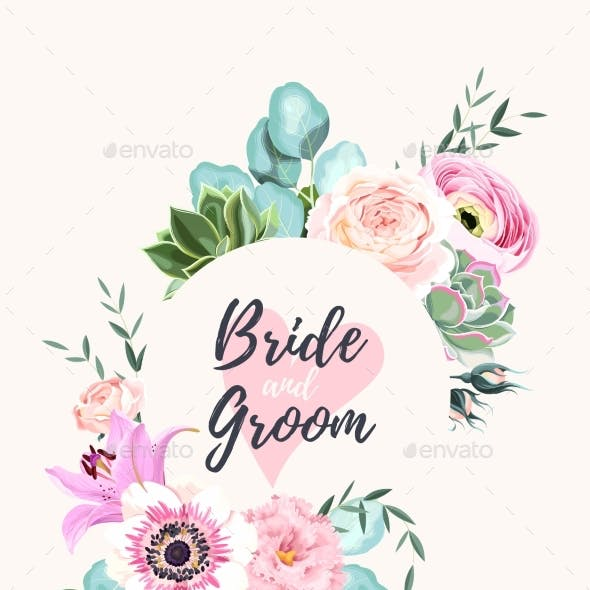 Vector Vintage Card with Pink and White Flowers