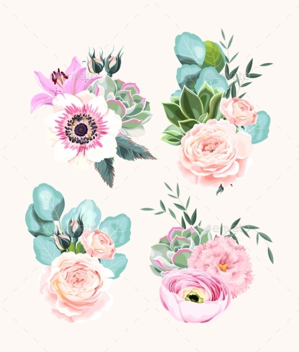 Vector Set of Vintage Pastel Flowers and Leaves - Flowers & Plants Nature
