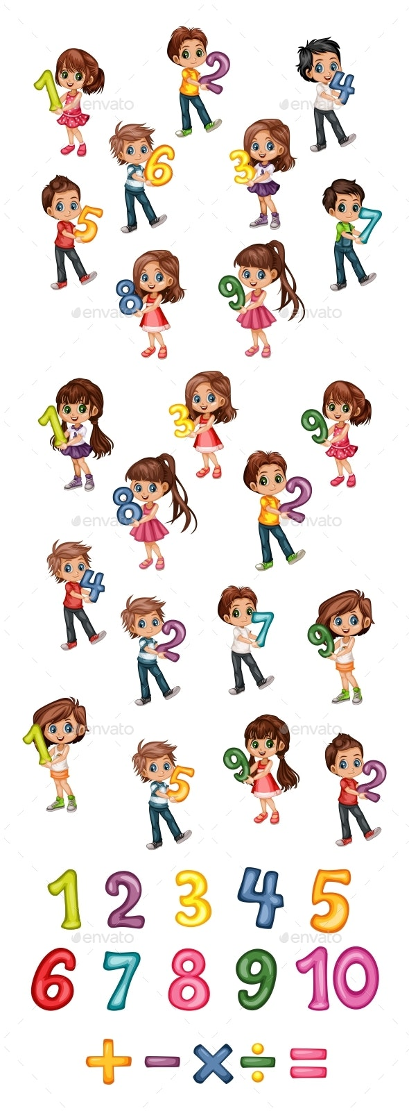 Cute Cartoon Little Boys and Girls Holding Numbers From One to Nine - People Characters