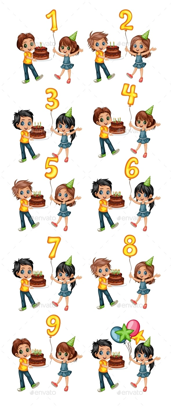 Cute Cartoon Boy Holding a Cake with Candles and Girl Holding Balloon with Numbers Celebrating Birth - People Characters