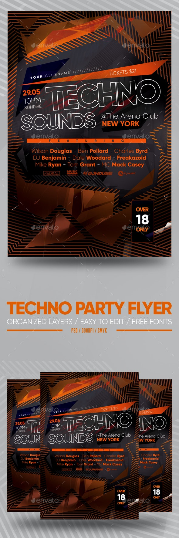 Techno Party Flyer - Clubs & Parties Events