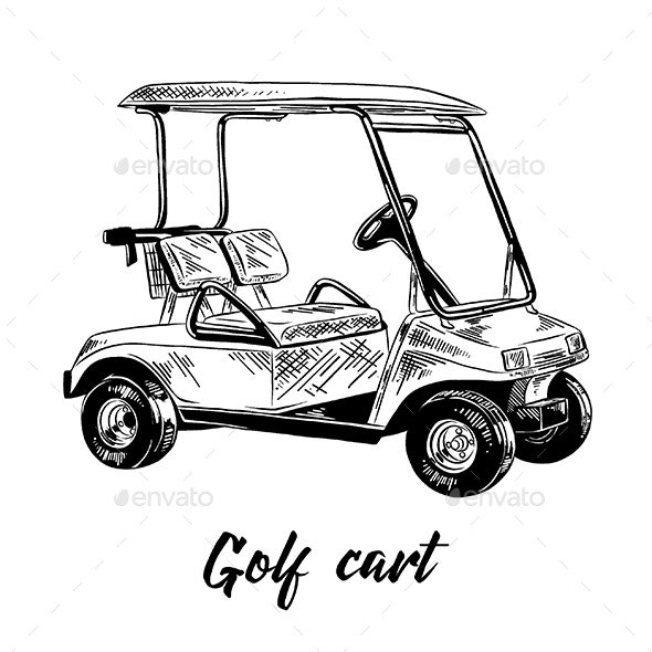 Hand Drawn Sketch of Golf Cart - Man-made Objects Objects