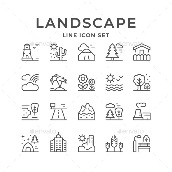 Set Line Icons of Landscape - Man-made objects Objects