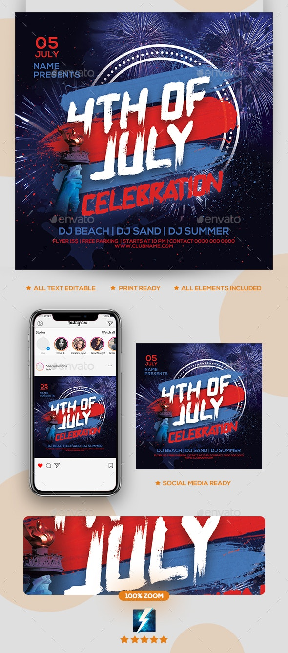 4th July Party Flyer - Clubs & Parties Events