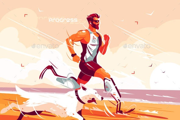Man with Prosthetic Legs Running on Seashore - Sports/Activity Conceptual