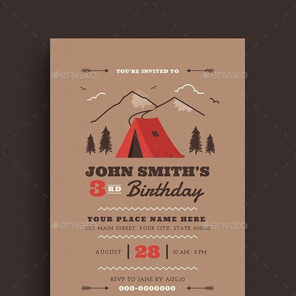 Camping Birthdays Invitation