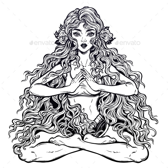 Girl in Lotus Position with Long Hair. - People Characters