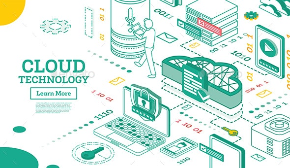 Outline Isometric Cloud Technology Networking Concept. - Technology Conceptual