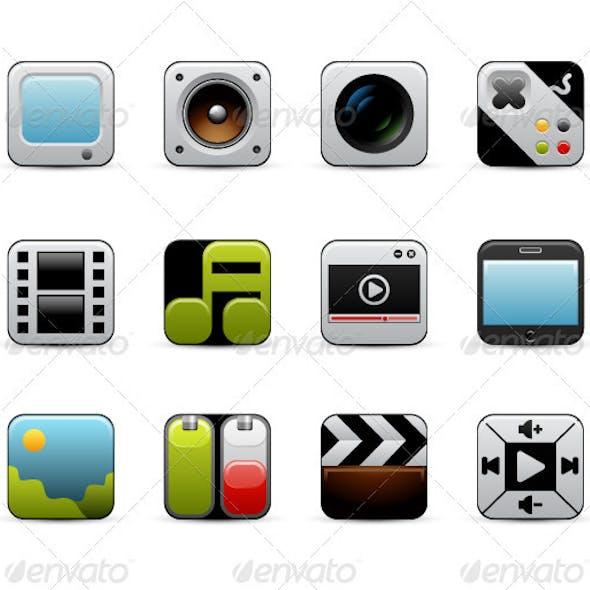 Design Multimedia Icons Set