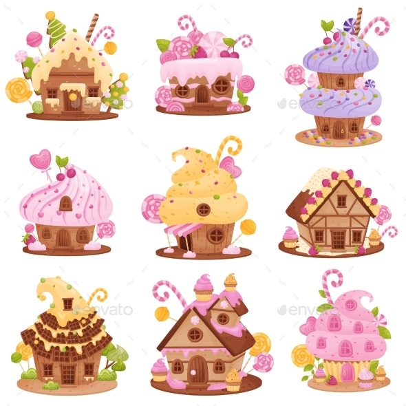 Set of Different Sweet Houses. Vector Illustration - Food Objects