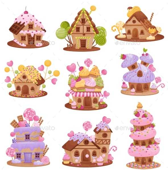 Set of Different Gingerbread Houses. Vector - Food Objects