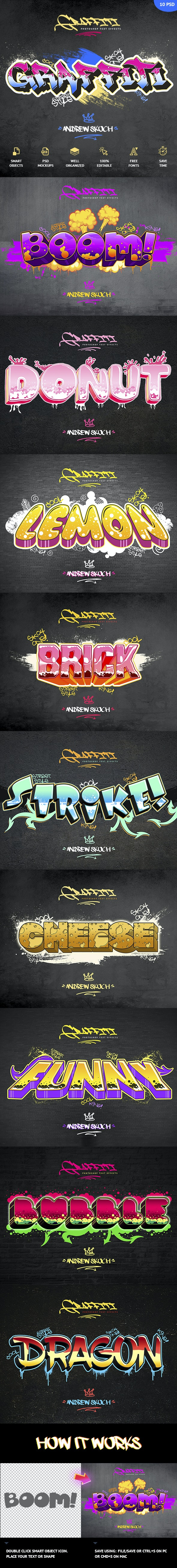 Graffiti Text Effects - 10 PSD - vol 2 - Text Effects Actions