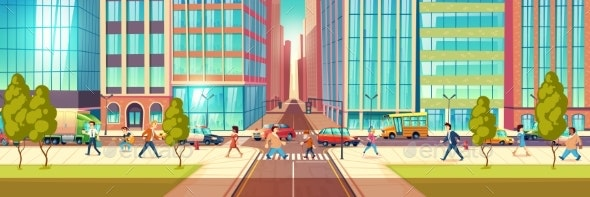 Modern City Street Life Cartoon Vector Concept - Buildings Objects