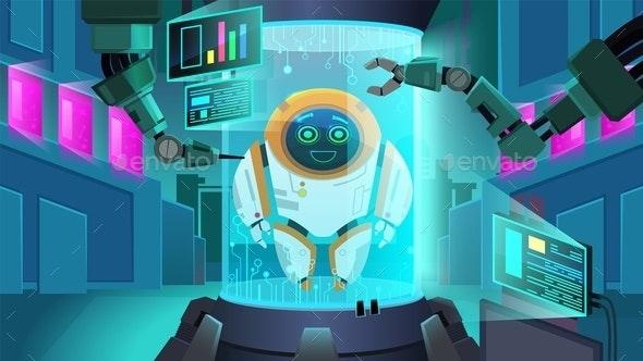 Creating Robot Next Generation Vector Illustration - Technology Conceptual