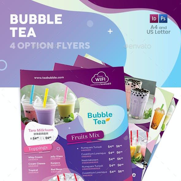 Bubble Tea Menu Flyers 3 – 4 Options