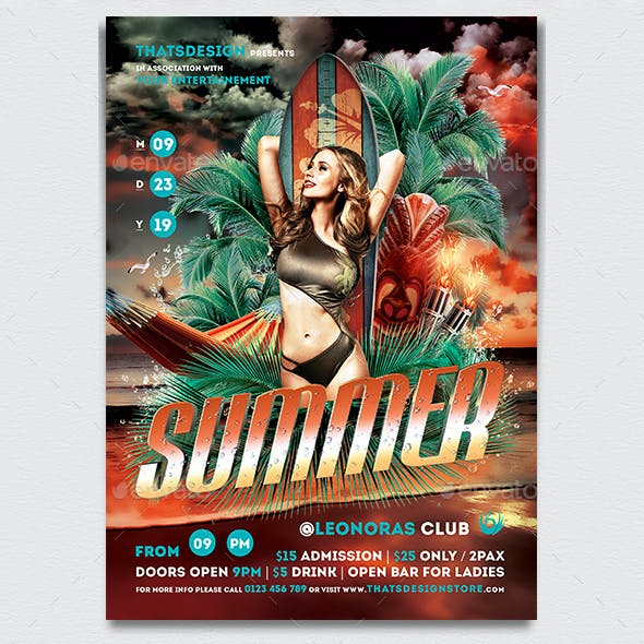 Beach Party Flyer Template V2