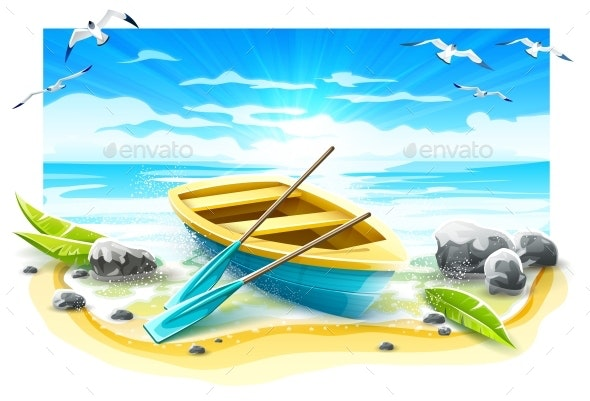 Fishing Boat with Paddles on Paradise Island. Vector. - Vectors