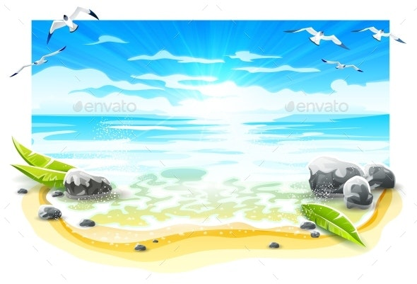 Evening Sunset at Sandy Beach of Paradise Island. Vector. - Vectors