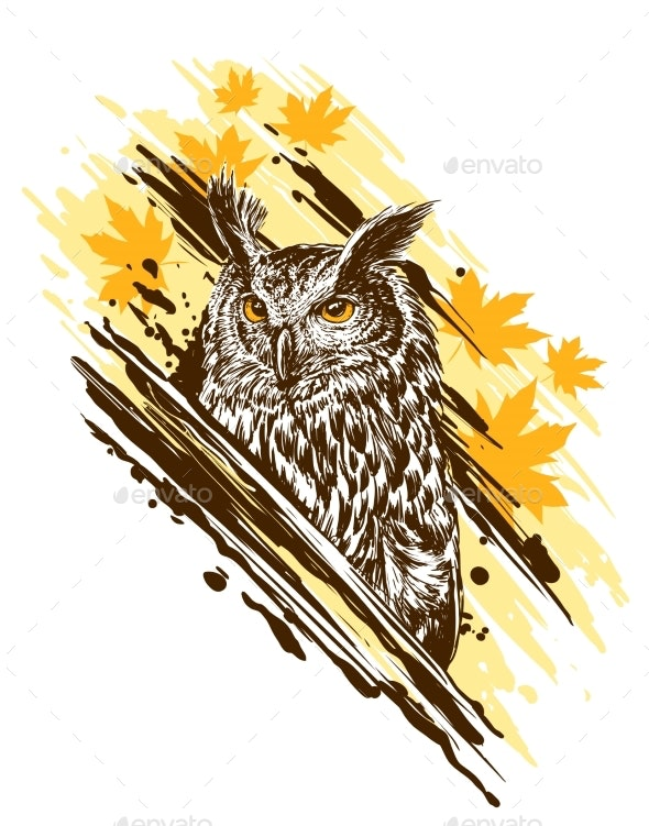 Graphic Detailed Colorful Owl with Yellow Eyes - Animals Characters