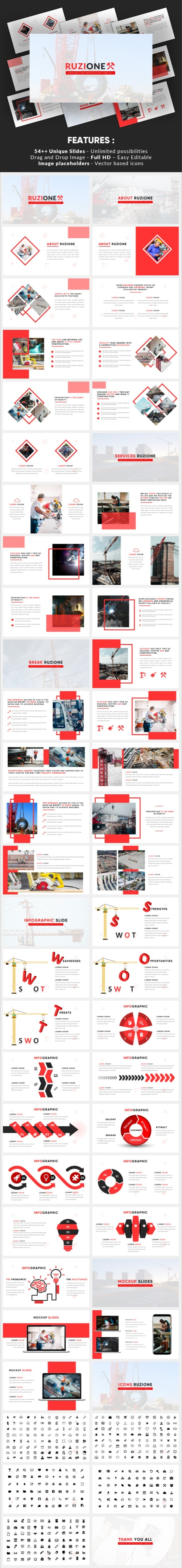 Ruzione - Construction Powerpoint Template - Business PowerPoint Templates