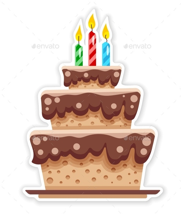 Birthday Chocolate Cake with Candles - Food Objects