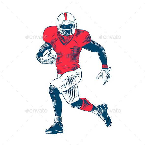 Hand Drawn Sketch of American Football Player - Sports/Activity Conceptual
