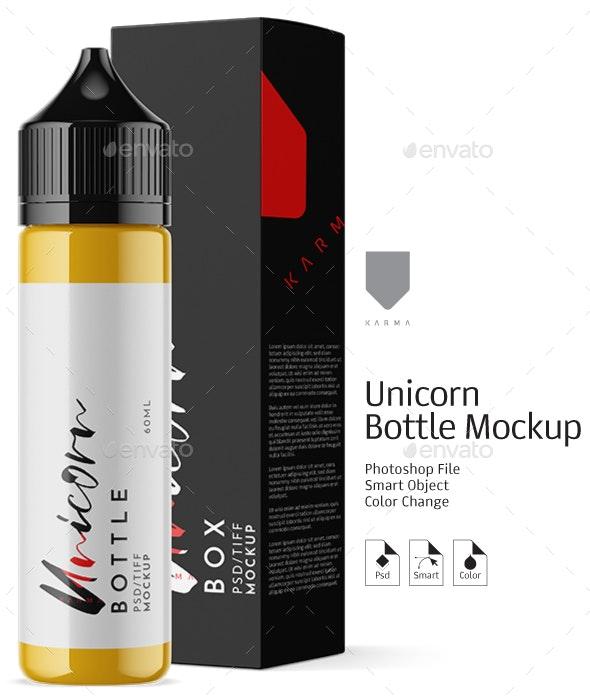 Unicorn Dropper Bottles Mockup - Product Mock-Ups Graphics