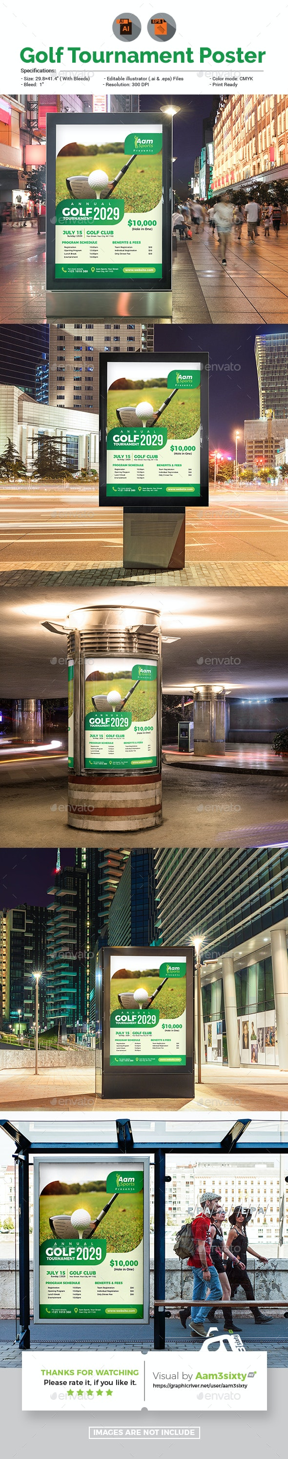 Golf Tournament Poster Template - Signage Print Templates