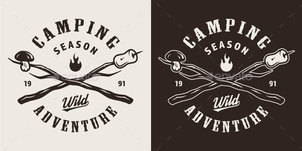 Vintage Camping Monochrome Emblem - Miscellaneous Vectors