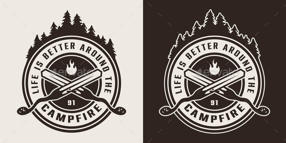 Vintage Monochrome Camping Round Logo - Miscellaneous Vectors