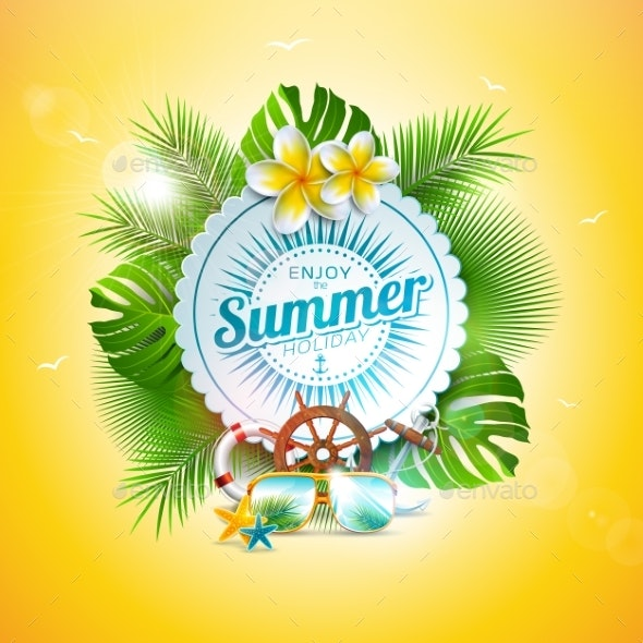 Vector Summer Holiday Illustration with Typography - Seasons Nature