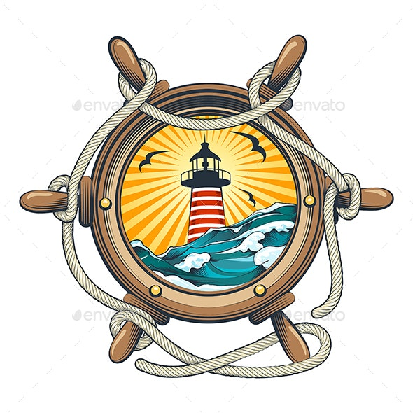 Steering Ship Wheel with Lighthouse Inside - Tattoos Vectors