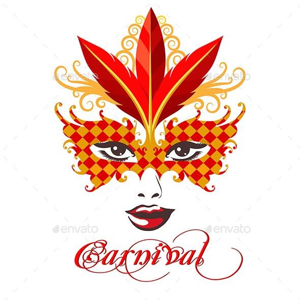 Venetian Carnival Mask Emblem - Miscellaneous Characters