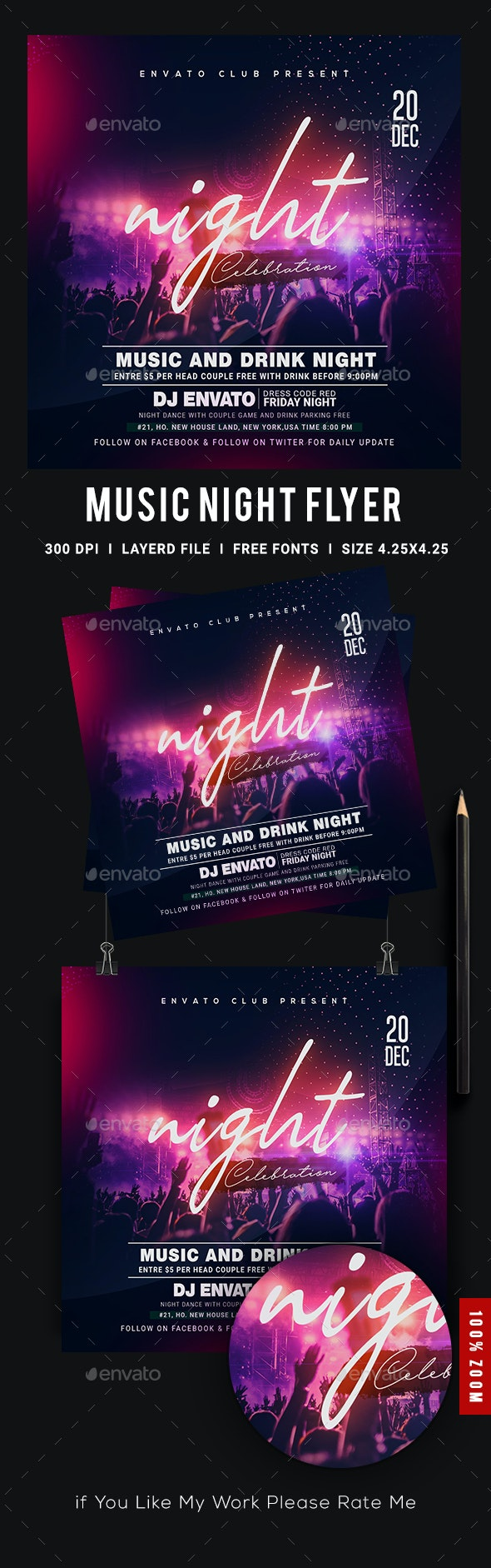 Music Night Party Flyer - Events Flyers