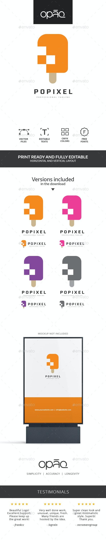 Popsicle Pixel Logo - Food Logo Templates