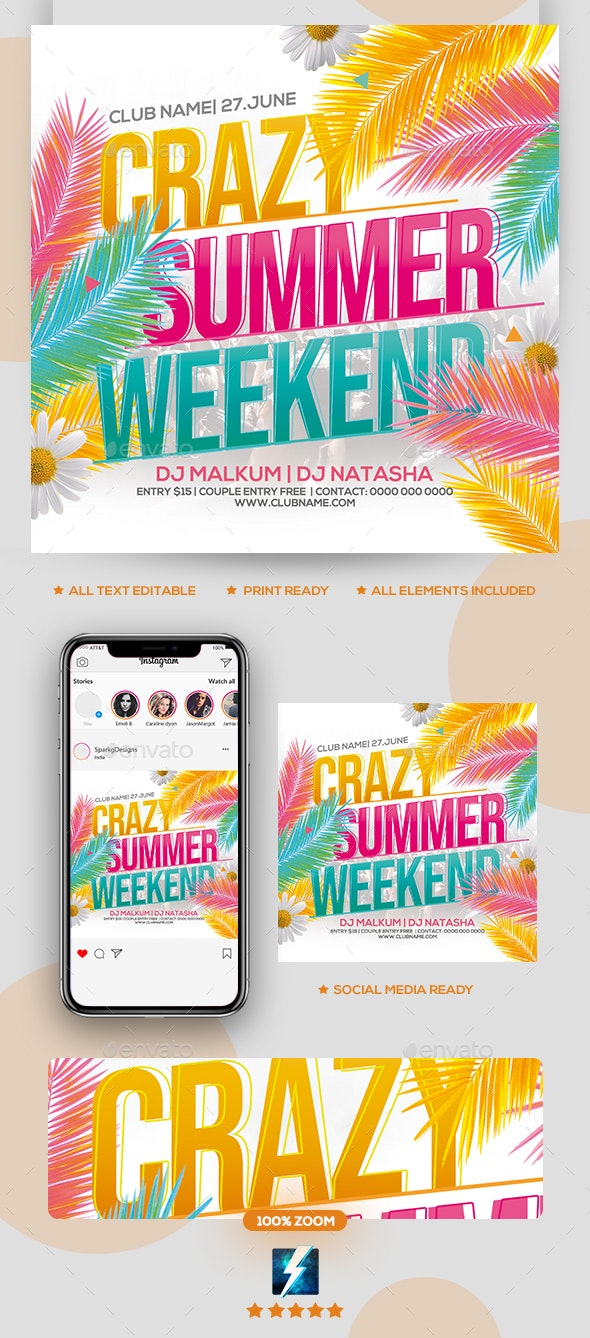 Crazy Summer Weekend Party Flyer - Clubs & Parties Events