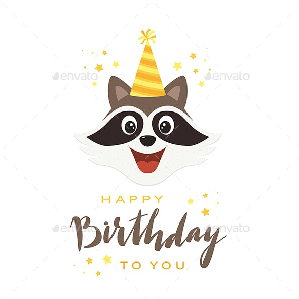 Raccoon Head with Lettering Happy Birthday - Birthdays Seasons/Holidays