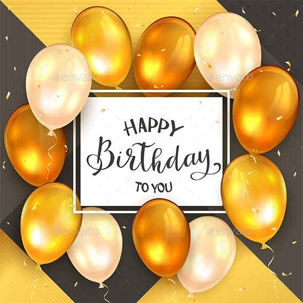 Golden Balloons and Black Lettering Happy Birthday