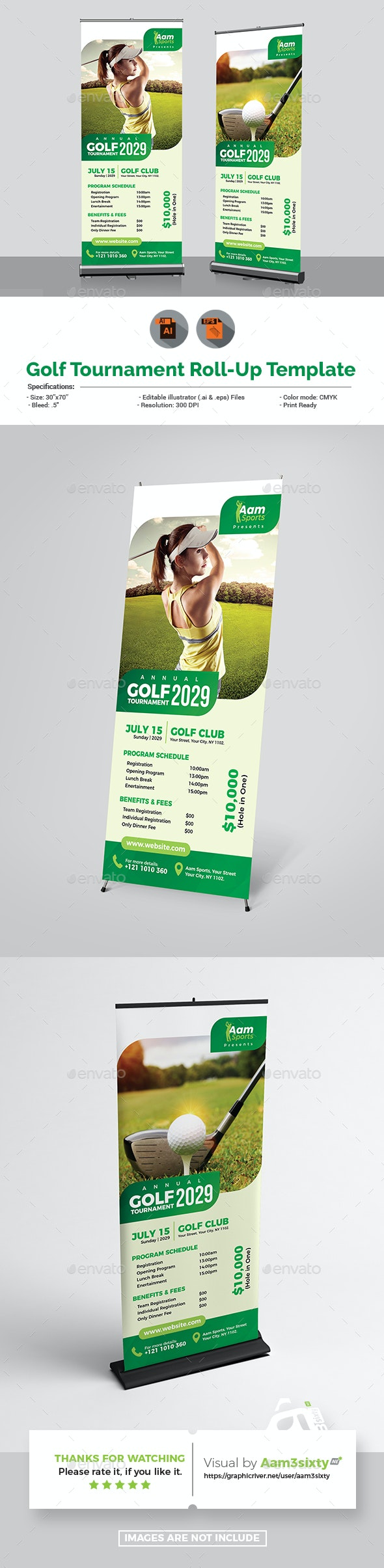 Golf Tournament Rollup Banner - Signage Print Templates