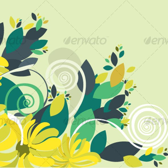 Floral background in vibrant yellow and green